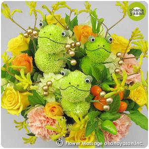 開運☆花かえるの合唱/縁起がいいカエルの花【花 誕生日プレゼント 開運グッズ フラワー お祝い事 母の日 カーネーション】
