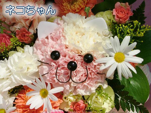 gatito hecho con flores