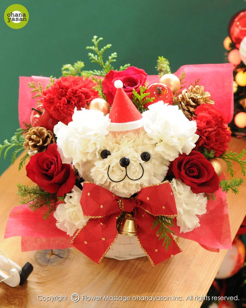 Osito navideño con claveles. Mascotas florales.